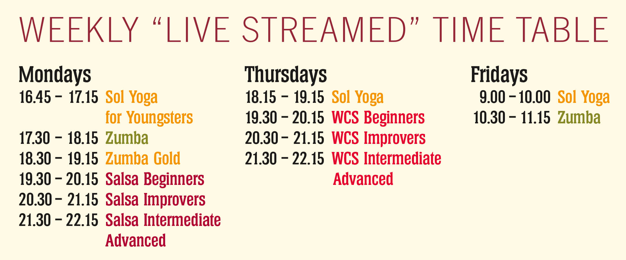 Salsa y Sol Dance and Yoga Timetable