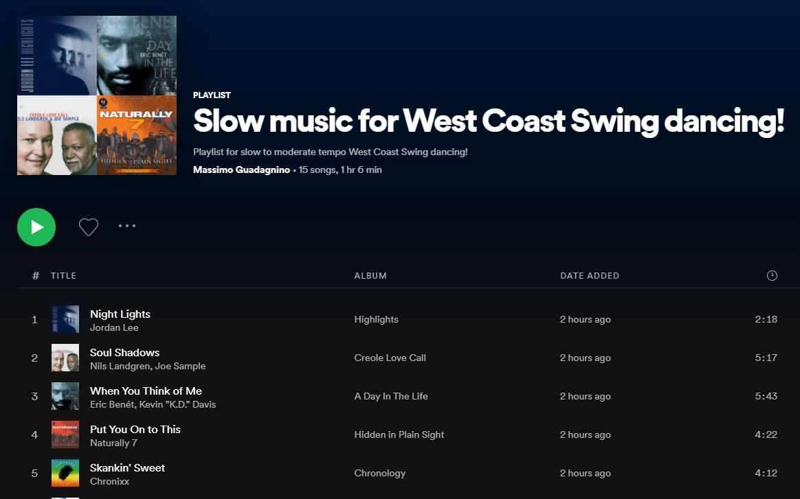 Slow Music for West Coast Swing dancing!